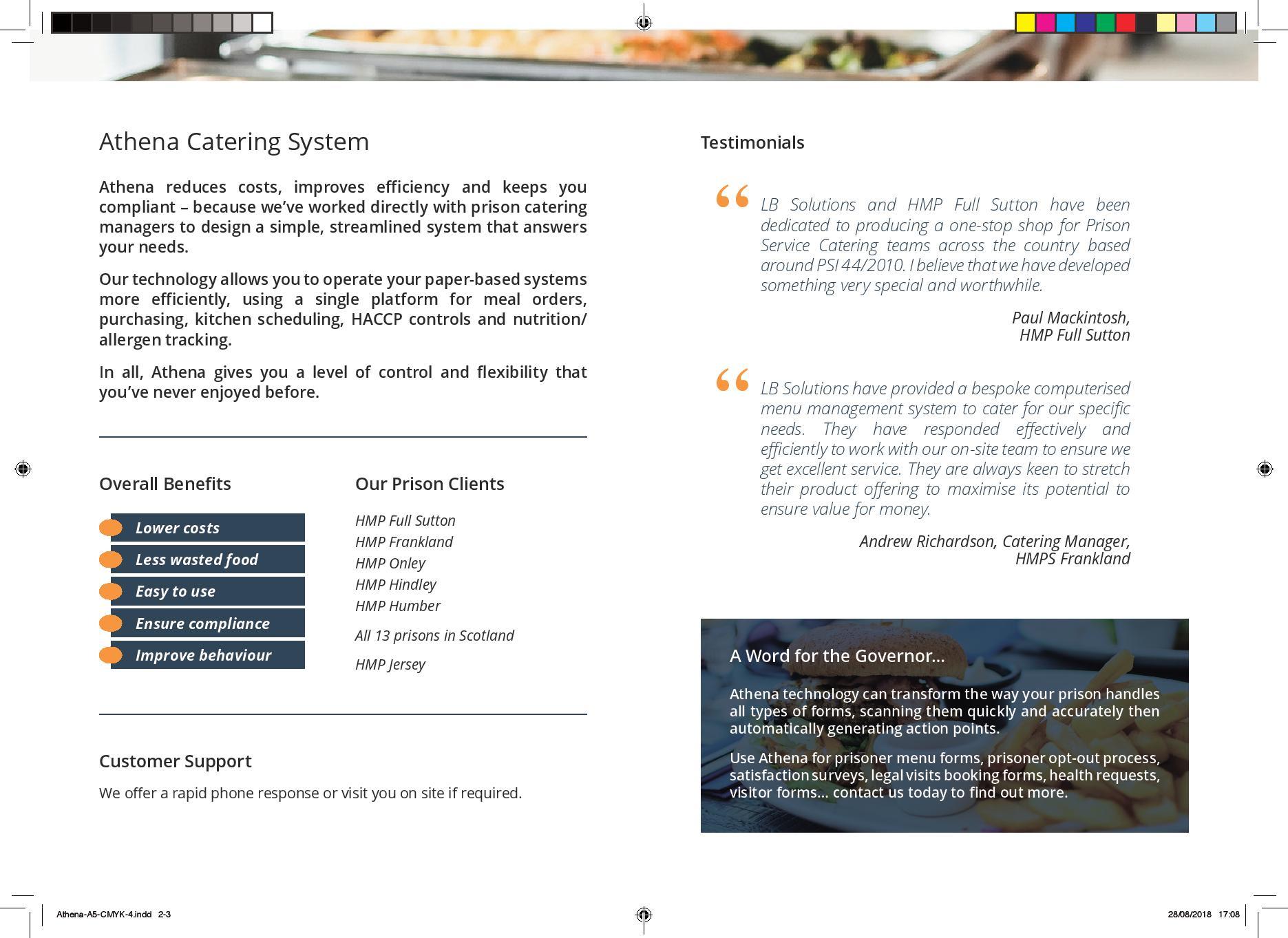 Athena kitchen management brochure